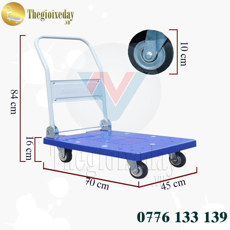 Thông số kỹ thuật xe đẩy hàng Phong Thạnh 200Kg 4 bánh sàn nhựa XTB 100DN