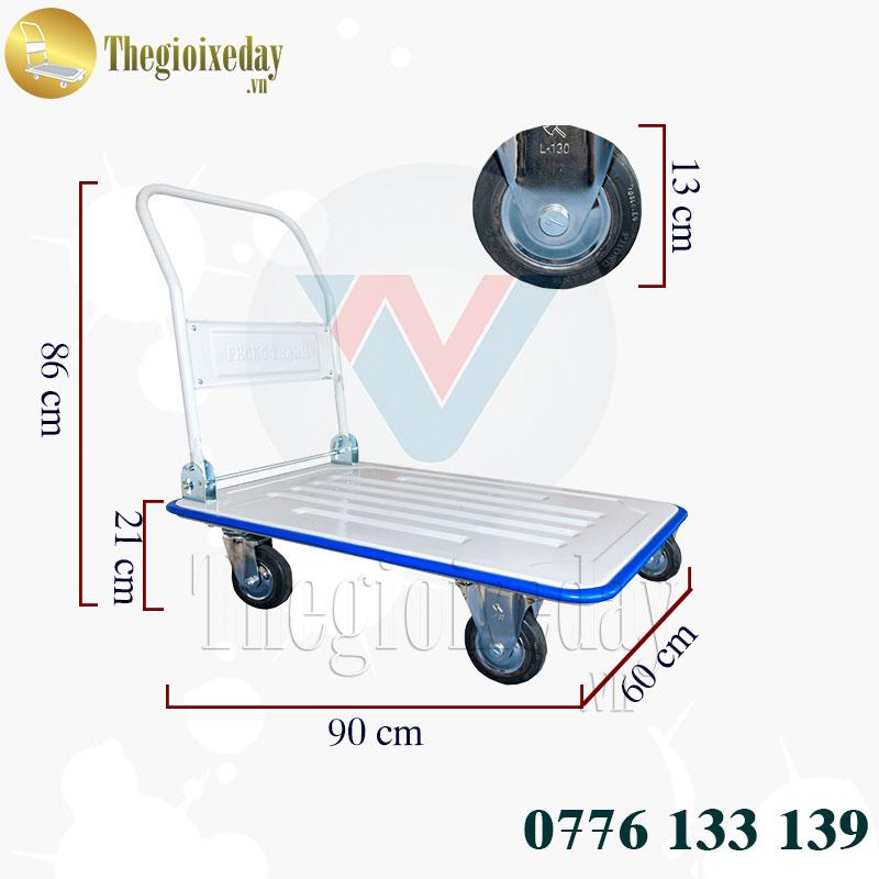 Xe Đẩy Hàng 4 Bánh 350Kg XTL 130DS Phong Thạnh Chính Hãng Giá Tốt